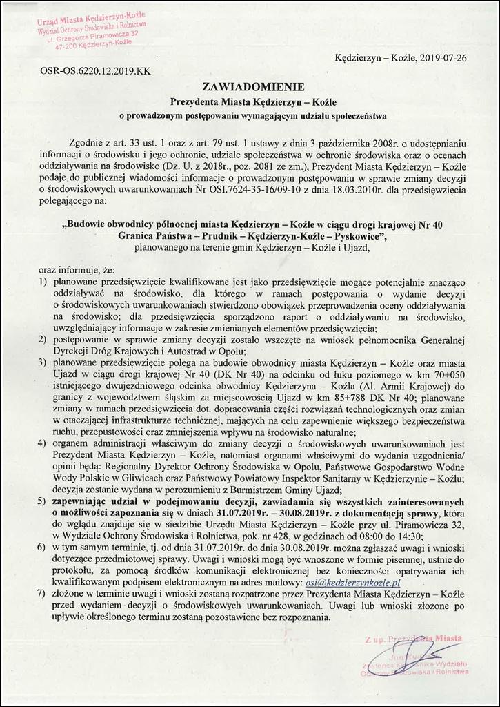 Zawiadomienie  o prowadzonym post. wymagającym udziału społeczeństwa Prezydenta Miasta Kędzierzyn-Koźle .jpeg